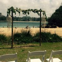 Oliver-Hire-Wedding-Arch-and-Shell-Chandelier-Hire-