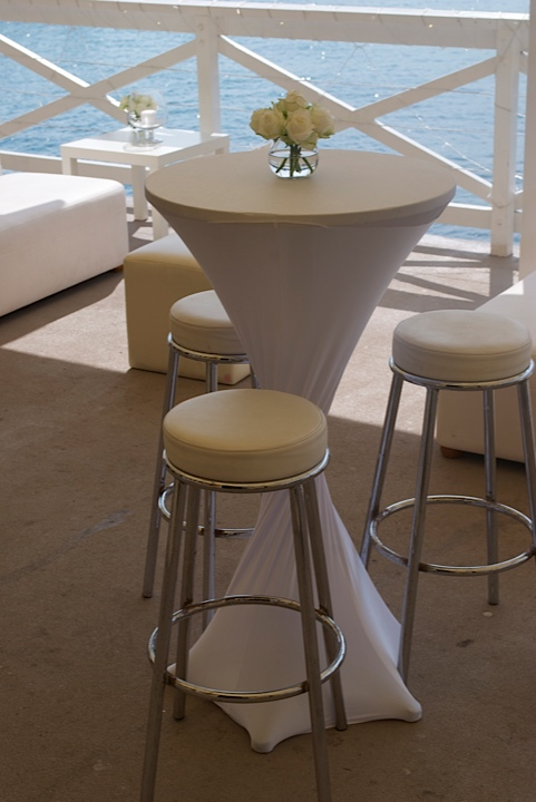 Cocktail Stool White Cushion Hire