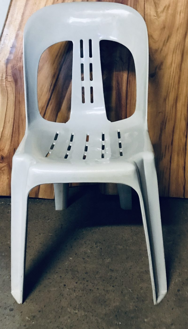 Grey stacking chair